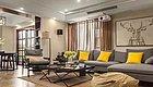 126㎡简约中式三房,嵌入式电视墙带投影仪,卧室带衣帽间和落地窗